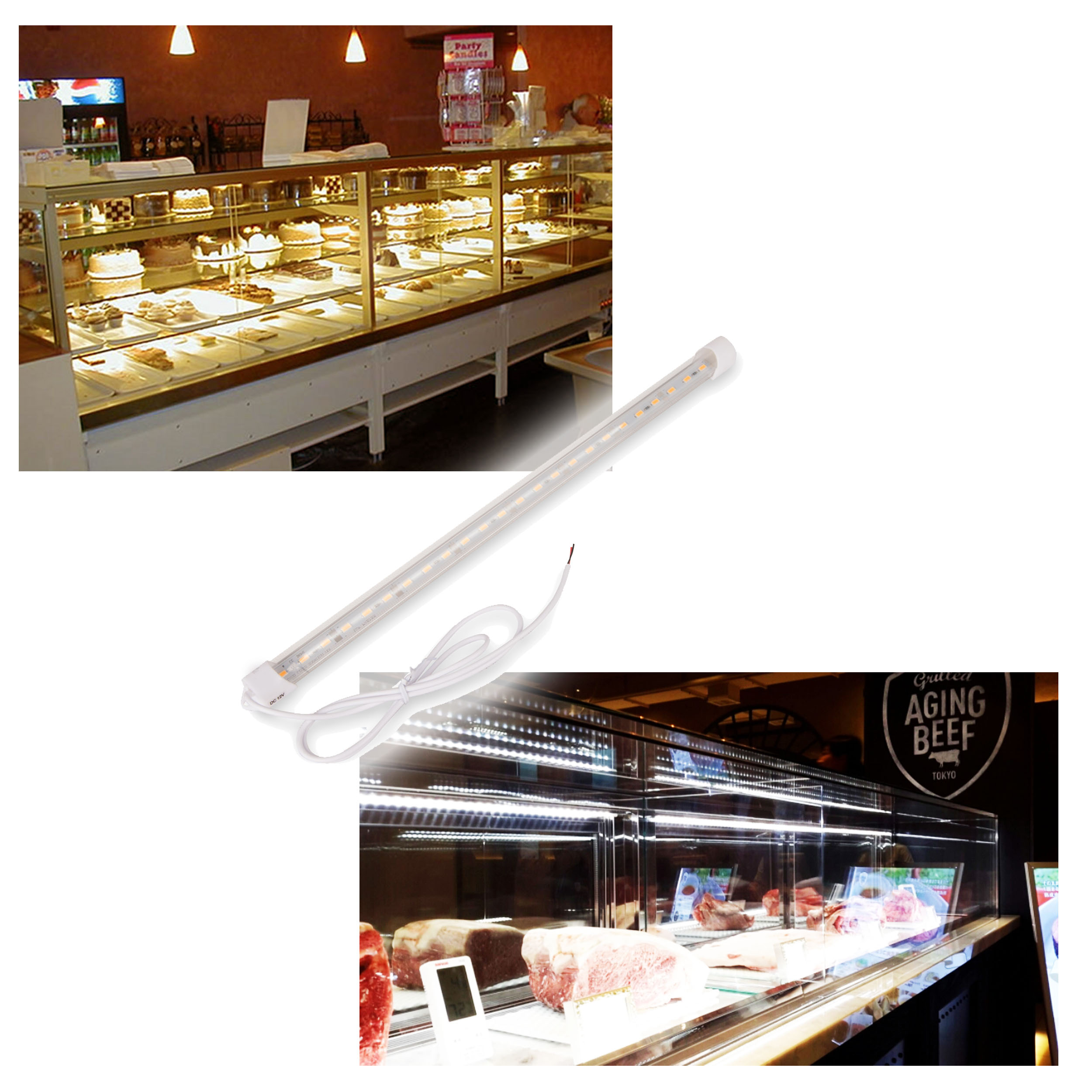 Lumenbasic Display Case Lighting Led 13 9 Waterproof Light Bar For Fridge Display Case Light For Commercial Counter Top 12v 12 Volt Hard Wired